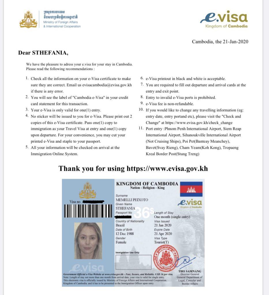visto Camboja
